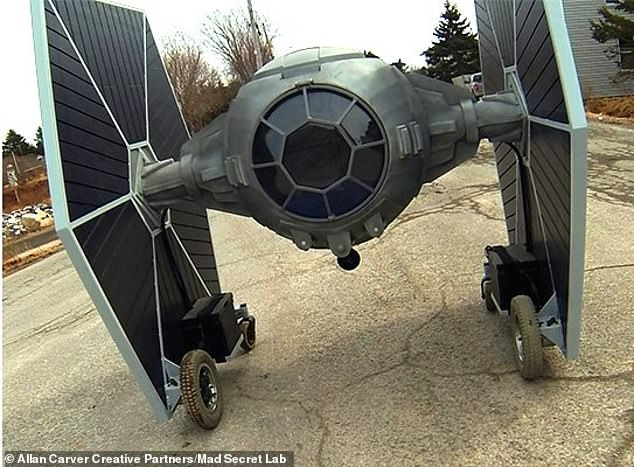 Carver was inspired to build his one-third scale TIE fighter in December 2017, when Star Wars: Episode VIII - The Last Jedi was coming to theaters