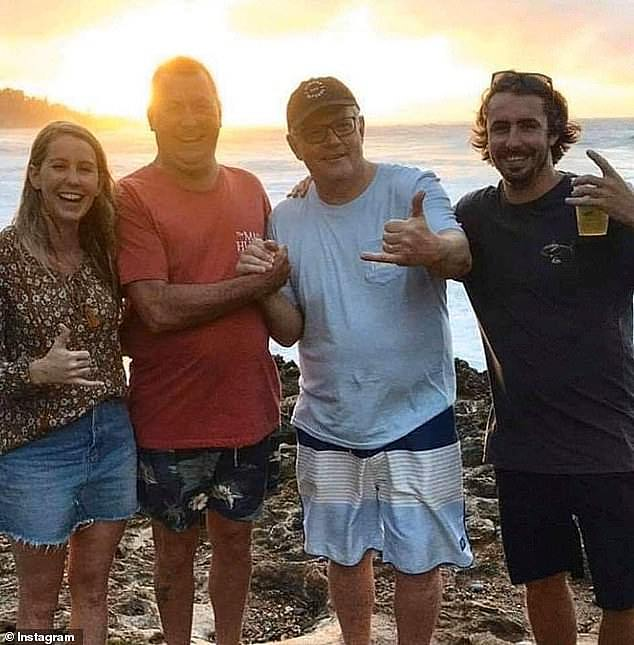 The backlash follows similar outrage when Mr Morrison was caught on a secret family holiday to Hawaii while 2019 bushfires ripped across Australia. (PIctured, Scott Morrison in Hawaii with other Australian travellers)