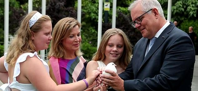 On Sunday, Mr Morrison tweeted this old photograph of the family from earlier in the year, implying he was not seeing them on Father's Day
