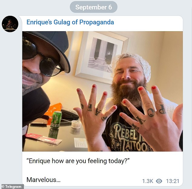 Proud Boys leader Enrique Tarrio, left, shared a photo of himself Monday as he prepared to hand himself into a Washington DC jail to begin a five month prison sentence