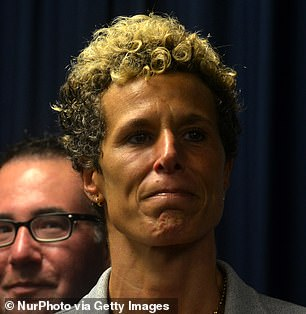 Andrea Constand is seen in September 2018, at a press conference after Cosby's conviction
