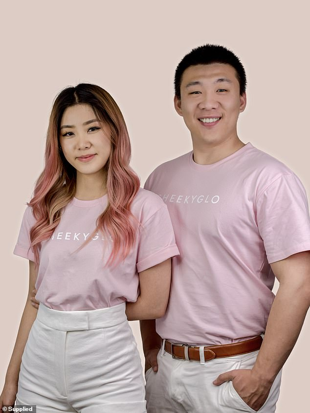 The 27-year-old started working on the brand with her entrepreneur friend Allen Fu, 26, (right) from his garage with nothing but a laptop and a label printer