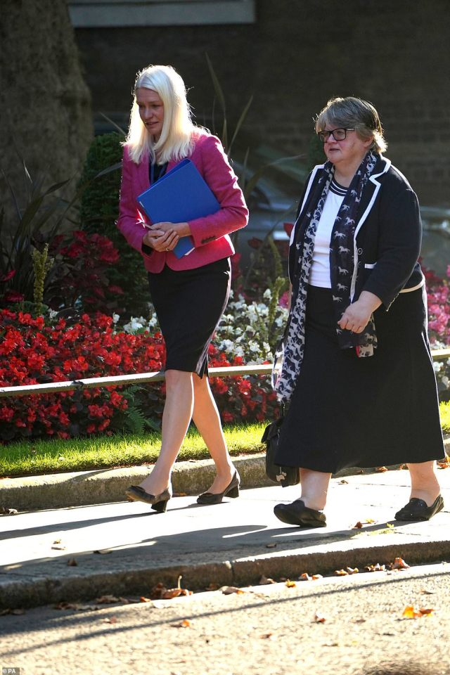 Tory chair Amanda Milling and Work and Pensions Secretary Therese Coffey were in Downing Street today