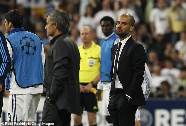 Pique revealed Guardiola's (right) rivalry with Jose Mourinho (left) was exhausting at Barca