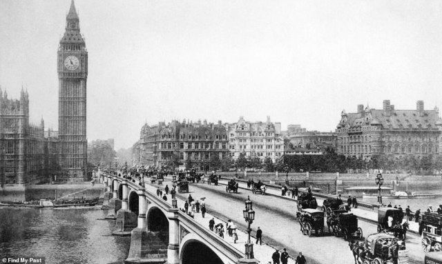 A familiar sight: London's Westminster Bridge in 1890. Travelling across the landmark are scores of pedestrians, along with horses and carriages. In the background are the Houses of Parliament and Big Ben