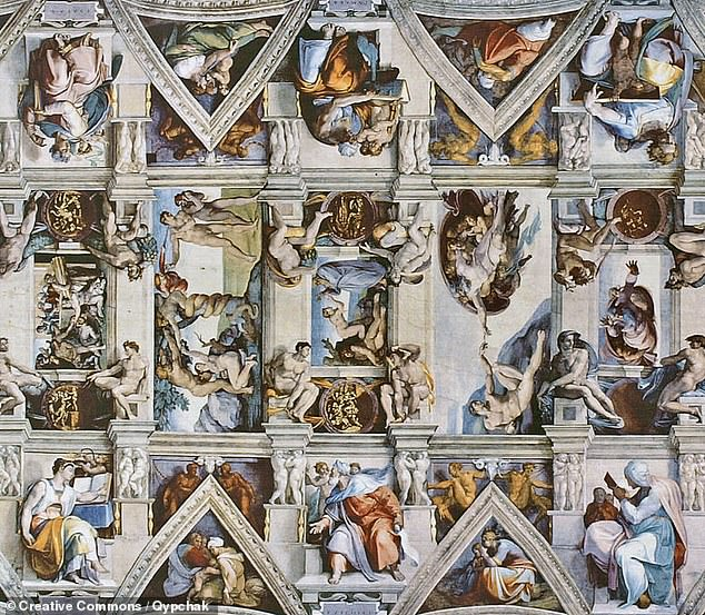 The team used a previously established formula to estimate stature from the dimensions of the foot — both length and breadth. They concluded that Michelangelo (or, at least, the owner for the shoes) likely stood at around 5 feet 3 inches, or 160.3 centimetres. Pictured, a section of the ceiling of theSistine Chapel in the Vatican City, pained by Michelangelo from 1508–12