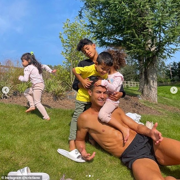 Ronaldo was seen enjoying the Manchester sun on Sunday while he seeing out his quarantine