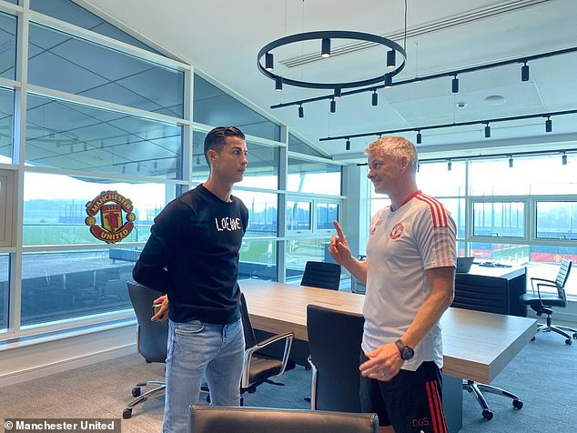 The jumper Ronaldo opted for is priced at £425 despite Manchester baking in the hot weather
