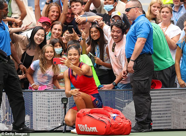 The 18-year-old was happy to take pictures with some tennis fanatics after her latest triumph