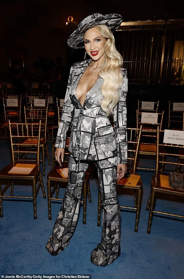 Glam: Hairstylists Senada K. Ceka and Diana Dodic coiffed Christine's platinum blonde sideswept waves for the New York Fashion Week festivities