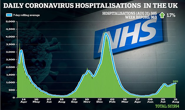 Daily hospitalisations are still nowhere near the levels of previous waves and patients are being admitted with milder disease than earlier phases. But there are still concerns that Britain is starting from a high baseline as it heads into winter