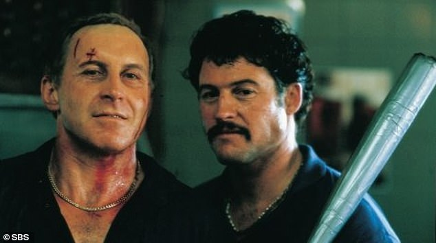 Tony Martin (left) as Neddy Smith and Peter Phelps as Graham Henry in Blue Murder. In this scene the pair tears up the Broadway Hotel in Sydney during a vicious Anzac Day pub brawl