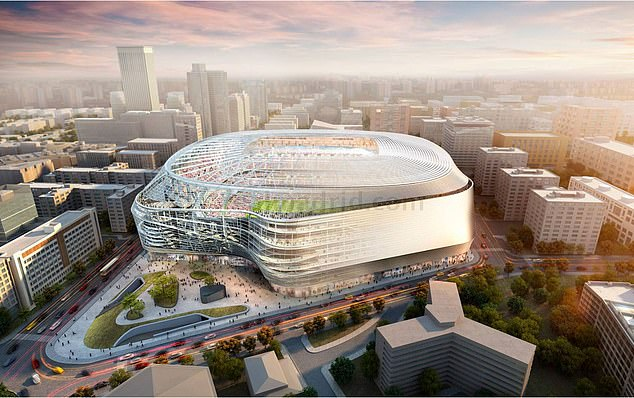 This mocked-up shot of the Bernabeu and surrounding skyline shows how stunning it will be