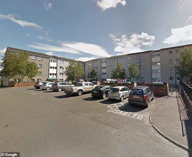 The two-year-old girl plummeted 40ft from the top floor window of a four-storey block of flats in Craighead Way, Barrhead, near Glasgow, at around 8.25pm on September 2. Pictured: GV of the flats in Craighead Way