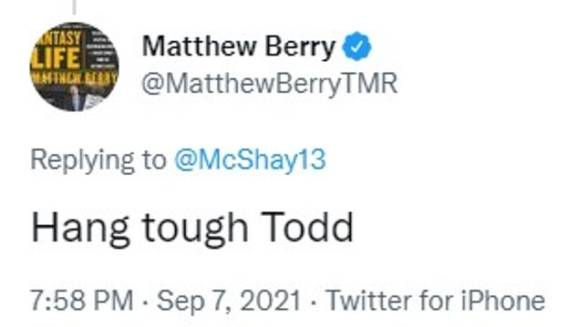 NFL Fantasy Football analyst Matthew Berry encouraged McShay to 'hang tough'