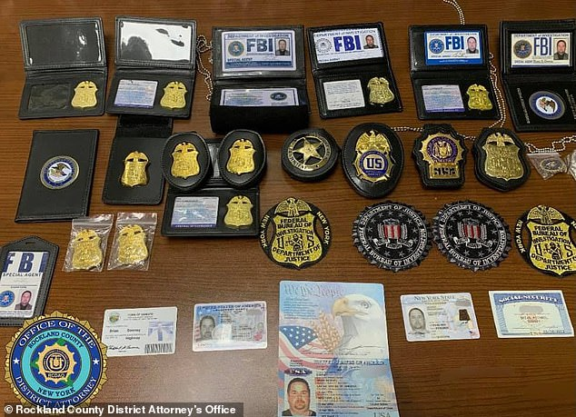 When authorities opened a lockbox they found several fake federal badges and credentials, including multiple FBI badges with his name and signature