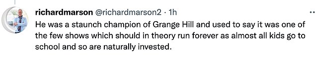 Mr Barnes' passing was confirmed by the former editor-in-chief of Blue Peter, Richard Marson, who said he had taken a call from the show's former editor