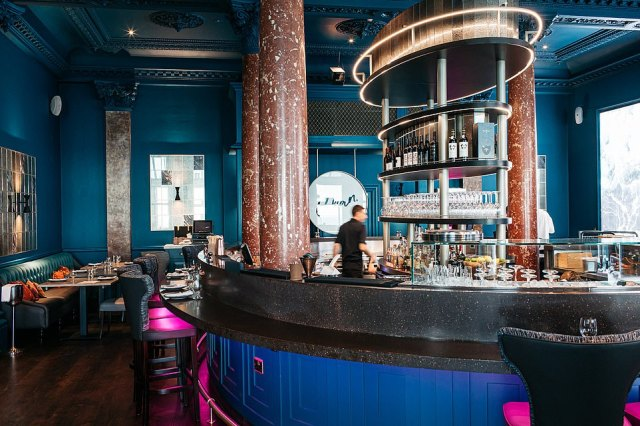 At the Cyan restaurant bar, pictured, Ted sipped a 'superb' vodka and egg-based cocktail