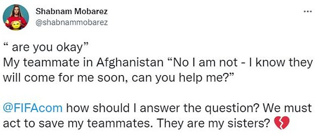 Mobarez put out an emotional tweet calling on football's governing body to help her 'sisters'