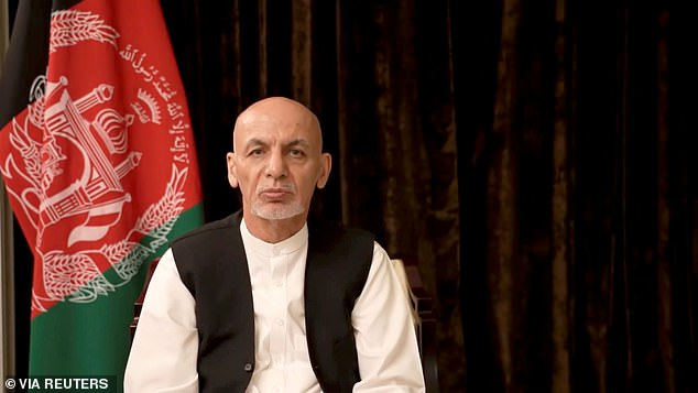 Ashraf Ghani said he 'owed the Afghan people an explanation' and apologised that it did not 'end differently' (pictured in an earlier address to the Afghan people on August 18 after he left)