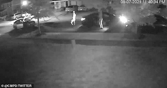 According to home security video from a house across the street, two vehicles appeared to pulled up in front of the house seconds before several suspects exited and opened fire