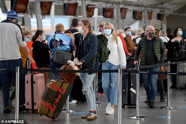 The plan to allow tourists back into the state's regional and rural areas is expected to give long-suffering business owners a much-needed cash injection (pictured, Sydney Domestic Airport before the recent lockdown)