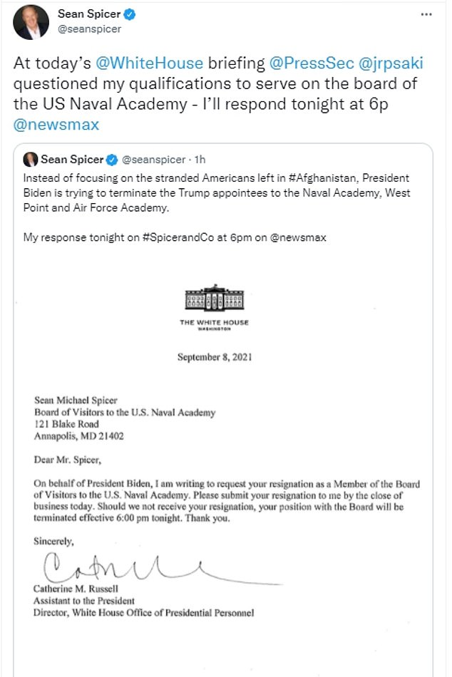 Spicer said he would deliver his response on his NewsMax TV show and shared the letter he received asking for his resignation from the Board of Visitors to the U.S. Naval Academy