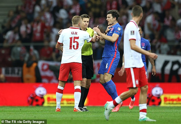 Glik and Harry Maguire exchanged stern words before referee Daniel Siebert had stepped in