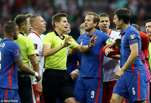 Harry Kane pulled away several of his Three Lions colleagues after the altercation broke out