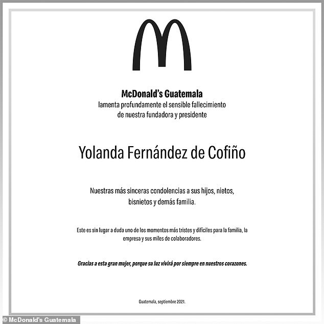 McDonald's Guatemala honored Cofiño with a post on Tuesday expressing their condolences for their matriarchs passing