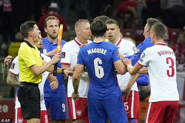 Glik and Maguire were heavily involved as tempers rose but the officials soon regained control
