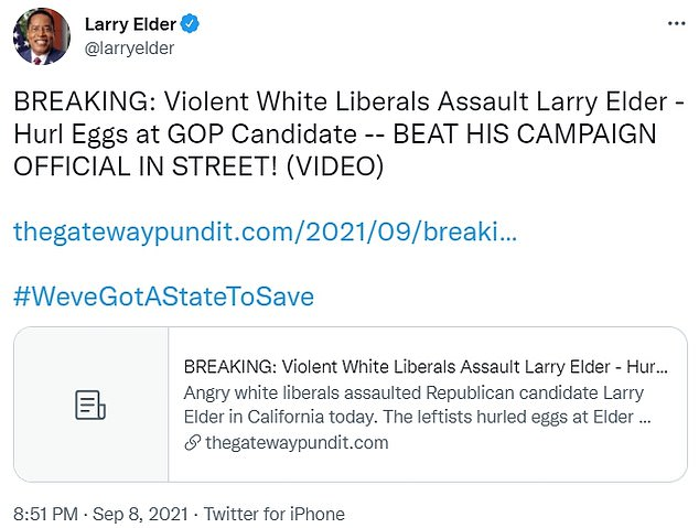 Elder tweeted a link (pictured) to a news article calling his attacker an 'angry white liberal'