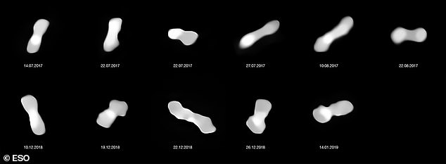 These eleven images are of the asteroid Kleopatra, viewed at different angles as it rotates. The images were taken at different times between 2017 and 2019