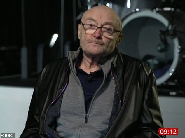 Worried:Phil Collins sparked concern during an appearance on BBC Breakfast on Thursday morning, when he confessed to no longer being able to play the drums