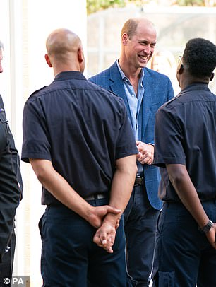 The royal appeared in high spirits as he spoke with the emergency service workers at Dockheads fire station today