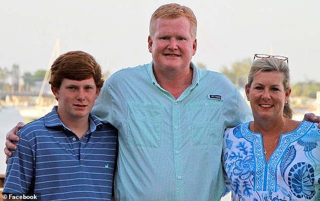 Alex Murdaugh, 53, (pictured with his deceased wife and son Paul) suffered a gunshot wound on a rural road in Hampton County, South Carolina, Saturday