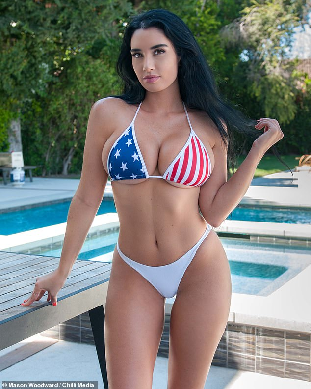 Stars and Stripes: Paris Dylan poses in a bikini, while McLean has said: 'Yes, she loves to wear bikinis, but I think she's the greatest pin-up girl in America and I tell her that all the time.Of course, it drives my ex-wife and my daughter bananas but I don't care because they don't care about me.'