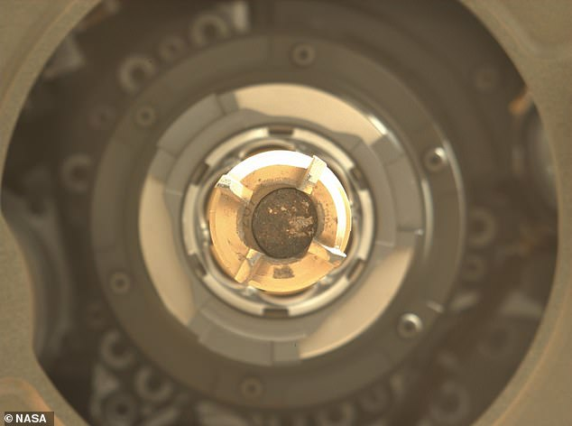 The team tweeted: 'I have successfully processed and stored my second sample of Mars, thus making my total of two Mars rock cores in one week'