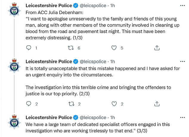 This morning one of Leicester's most senior police officers said sorry in public on Twitter