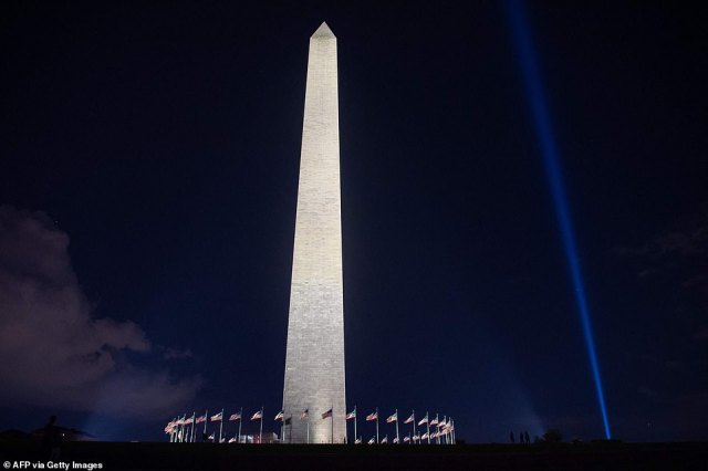 The beam - shining throughout the Greater Washington DC area - is seenfrom the Washington Monument on the National Mall on Sept. 9, ahead of the 20th anniversary of the attacks