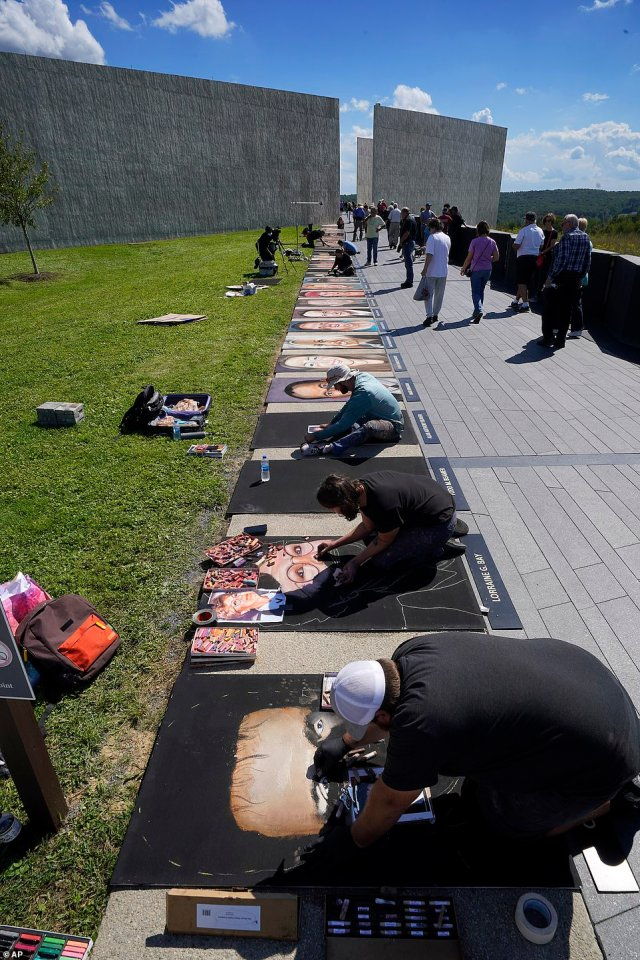 The portraits are expected to remain on display throughout the weekend, however local radio station 90.5 WESA reports that the memorial is considering making the artworks part of its permanent collection