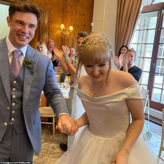 Mr and Mrs: The comedian and his wife, who works in TV production, looked the picture of happiness as they hosted a lavish wedding reception at a country estate