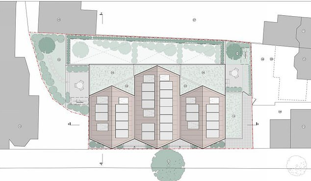 Top-down plans show the area of development of four new homes on Gondar Gardens