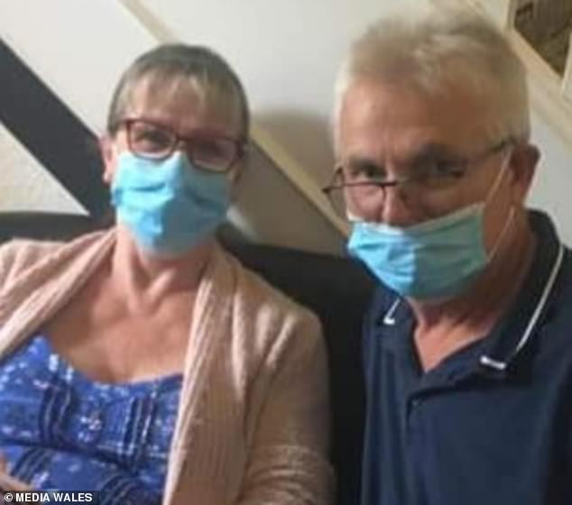 The staff at the North Wales care home were forced to make their own PPE out of duvet covers and Mrs Hough said the extreme pressure took a serious toll on her husband (both pictured)