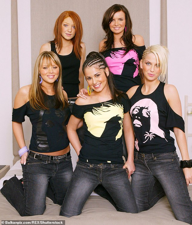 The singer (bottom right) was one fifth of Girls Aloud, who were formed in the early noughties. She is pictured in 2003 with bandmates Nicola Roberts (top left), Nadine Coyle (top right), Kimberley Walsh (bottom left) and Cheryl (bottom centre)
