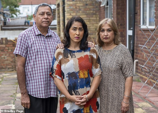 Their freedom allowed them to harass UK-based relatives of their victim. Aulakh threatened his wife Geeta's sister Anita Shinh (pictured with her parentsLakhwinder and Nardesh)
