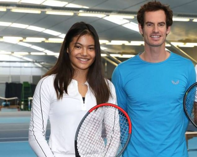 Raducanu with Andy Murray two years ago. She could become Great Britain's next tennis superstar