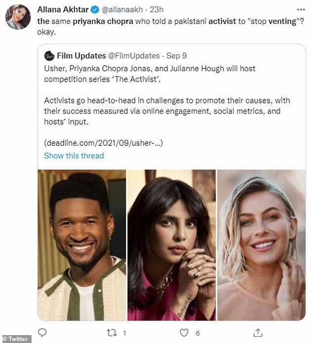 Called out:In 2019, she was publicly called out at Beautycon for a tweet supporting India's military among rising tensions with neighboring Pakistan. 'The same priyanka chopra who told a pakistani activist to 'stop venting'? okay,' mused one user