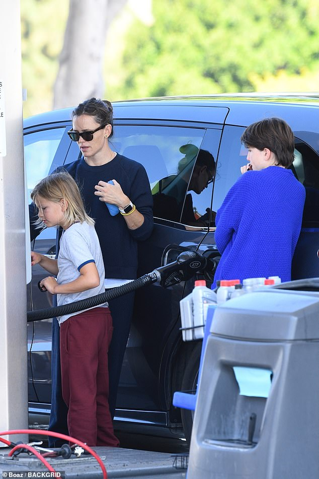 Doting mom:Her ex husband Ben Affleck couldn't keep his eye off of his girlfriend Jennifer Lopez while posing up a storm at the premiere for his film The Last Duel during the Venice Film Festival on Friday. Meanwhile, Jennifer Garner was spotted teaching two of her children how to pump gas at a gas station in the Los Angeles neighborhood of Brentwood