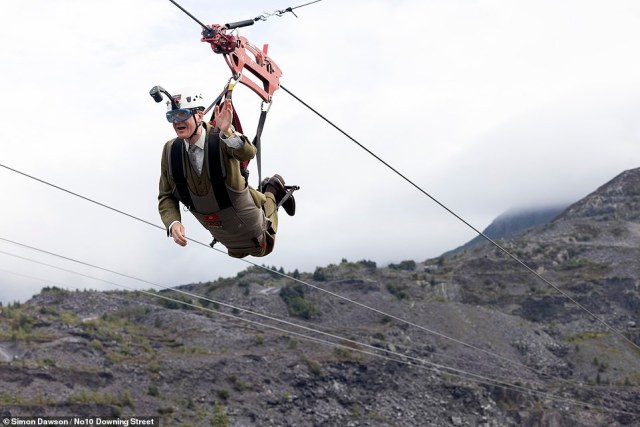 Jacob Rees-Mogg took a break from political meetings to try one out during a visit to Zip World in North Wales, holding both the national and Welsh flags